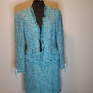 Blue vintage skirt suit